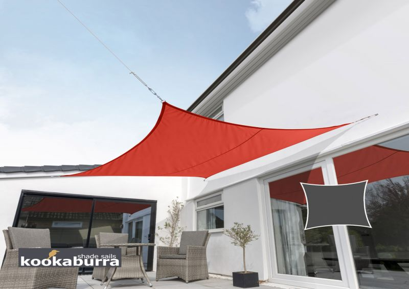 Kookaburra® 3.6m Square Red Waterproof Woven Shade Sail
