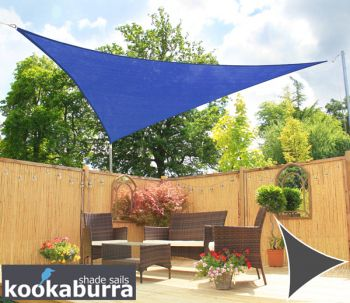 Kookaburra® 5m Triangle Blue Knitted Breathable Shade Sail (Knitted)