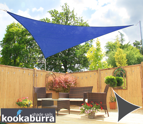 Kookaburra® 3.6m Triangle Blue Knitted Breathable Shade Sail (Knitted)