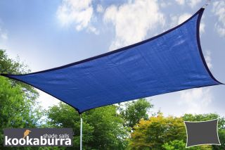 Kookaburra® 6mx5m Rectangle Blue Breathable Shade Sail (Knitted)