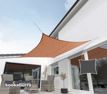 Kookaburra 3.6m Square Terracotta Breathable Shade Sail (Knitted)