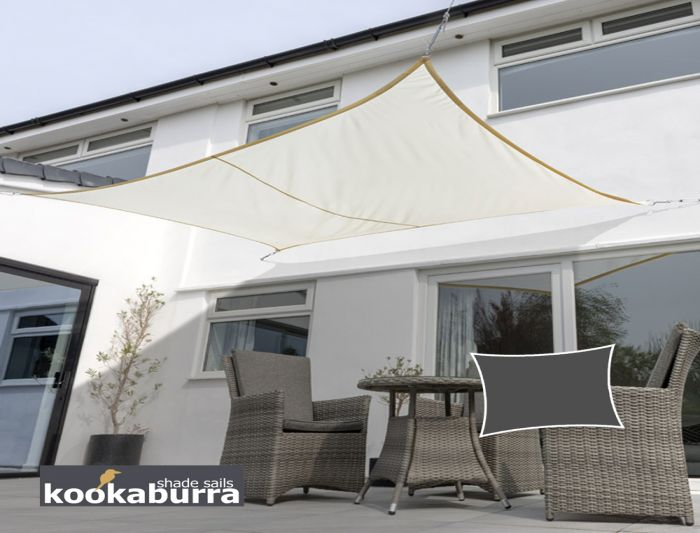 Kookaburra® 5mx4m Rectangle Ivory Knitted Breathable Shade Sail (Knitted)
