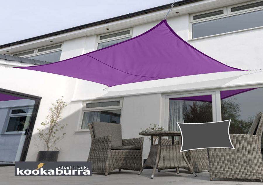 Kookaburra® 5mx4m Rectangle Purple Waterproof Woven Shade Sail