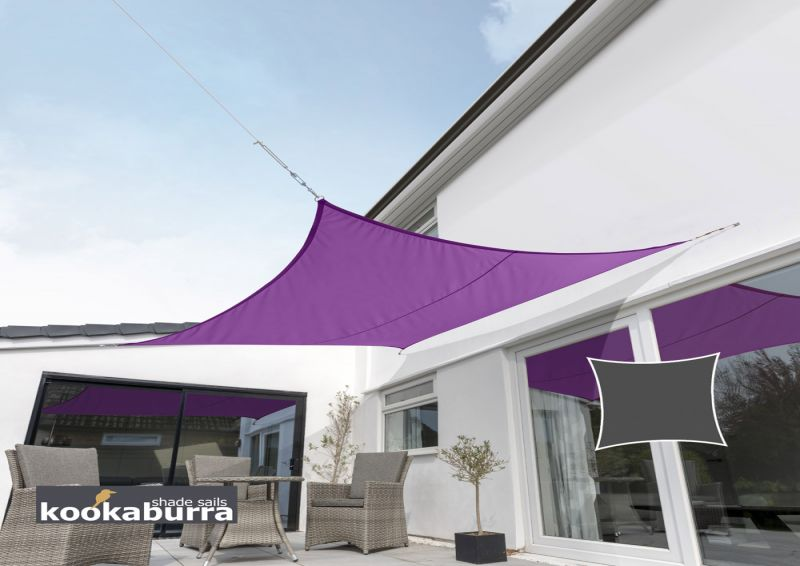 Kookaburra 5.4m Square Purple Waterproof Woven Shade Sail