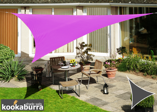 Kookaburra® 3m Triangle Purple Waterproof Woven Shade Sail