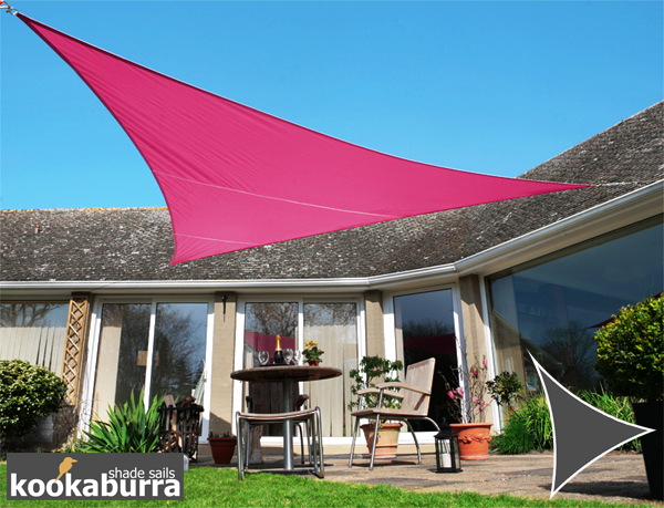 Kookaburra 5m Triangle Pink Waterproof Woven Shade Sail