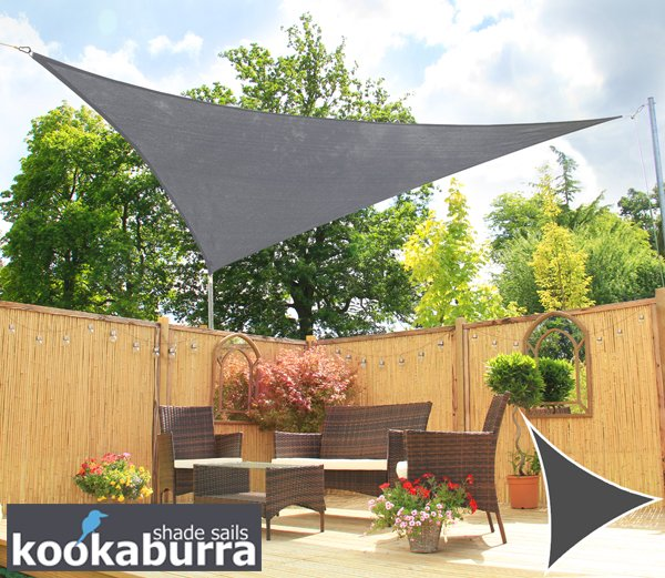 Kookaburra 5m Triangle Charcoal Breathable Shade Sail (Knitted)