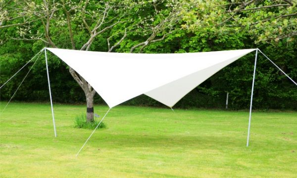 Portable Ivory Shade Sail Kit With Poles Ropes And Pegs