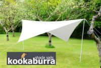 Portable Ivory Shade Sail Kit with Poles, Ropes and Pegs - Easy Set Up - Square 3.6mx3.6mx2.2m
