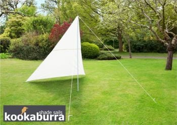 Portable Ivory Wind Break Kit with Poles, Ropes and Pegs - Triangle 3m x 3m x 2.5m