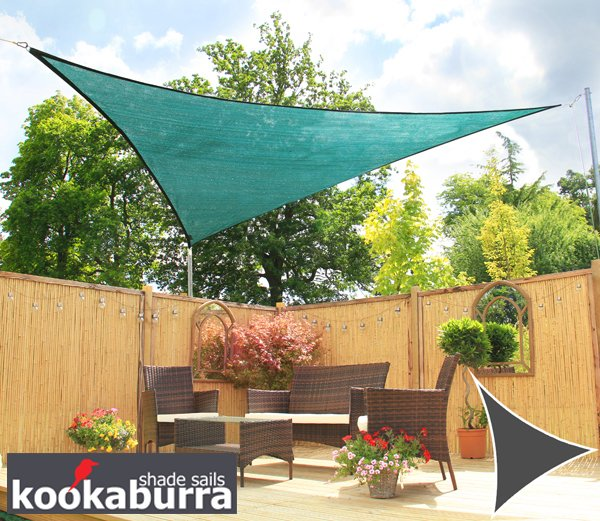 Kookaburra® 3.6m Triangle Green Breathable Party Shade Sail (Knitted 185g)