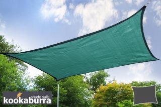 Kookaburra® 6mx5m Rectangle Green Breathable Party Shade Sail (Knitted 185gsm)