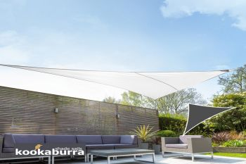 Kookaburra 6m Right Angle Triangle Polar White Breathable Party Shade Sail (Knitted 185gsm)