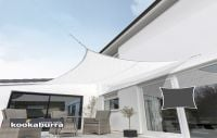 Kookaburra® 5.4m Square Polar White Breathable Party Shade Sail (Knitted 185gsm)