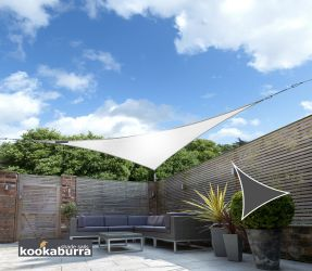 Kookaburra® 5m Triangle Polar White Breathable Party Shade Sail (Knitted)