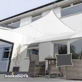 Kookaburra® 4mx3m Rectangle Polar White Breathable Party Shade Sail (Knitted 185gsm)