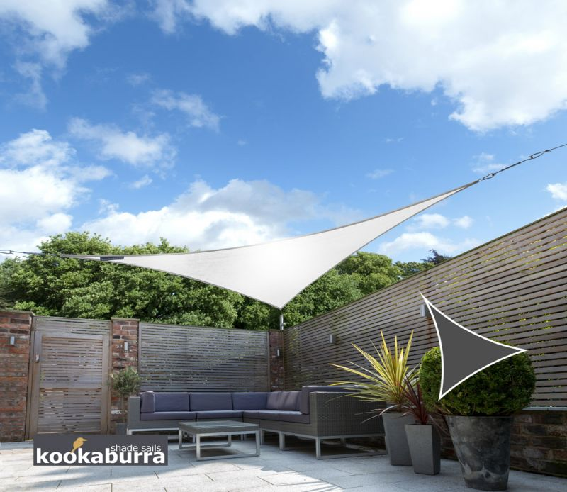 Kookaburra 3.6m Triangle Polar White Breathable Party Shade Sail (Knitted 185gsm)