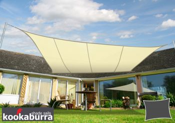 Kookaburra 5mx4m Rectangle Ivory Party Sail Shade (Woven - Water Resistant)