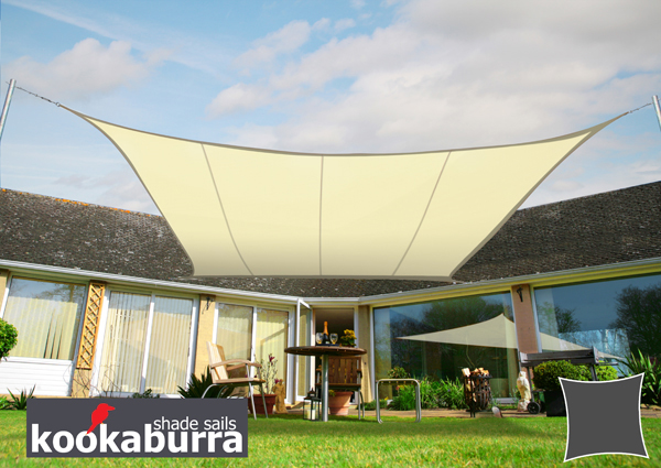 Kookaburra 3.6m Square Ivory Party Sail Shade (Woven - Water Resistant)