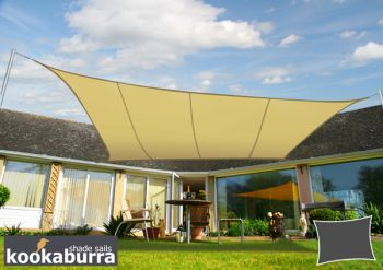 Kookaburra® 5mx4m Rectangle Sand Party Sail Shade (Woven - Water Resistant)