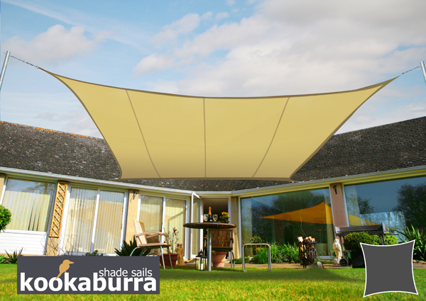 Kookaburra® 5.4m Square Sand Party Sail Shade (Woven - Water Resistant)