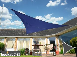 Kookaburra® 3m Triangle Blue Party Sail Shade (Woven - Water Resistant)