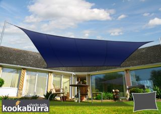 Kookaburra® 3mx2m Rectangle Blue Party Sail Shade (Woven - Water Resistant)
