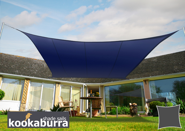 Kookaburra® 3m Square Blue Party Sail Shade (Woven - Water Resistant)