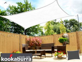 Kookaburra® 4mx3m Rectangle Polar White with Yellow Stitches Breathable Party Shade Sail (Knitted 185gsm)