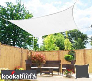 Kookaburra® 3.6m Square Polar White with Yellow Stitches Breathable Party Shade Sail (Knitted 185gsm)
