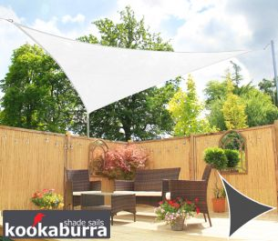 Kookaburra® 5m Triangle Polar White with Yellow Stitches Breathable Party Shade Sail (Knitted 185gsm)