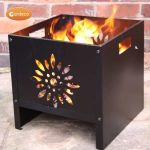 Oban Square Steel Flower Patterned Fire Pit By Gardeco - W40cm x D40cm