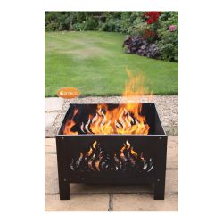 Oban Square Steel Flame Patterned Fire Pit - W40cm x D40cm
