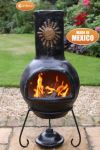 Sol Black and Gold Clay Chimenea By Gardeco - H110cm x D45cm
