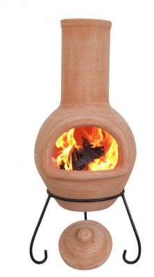 Colima Natural Clay Chiminea By Gardeco - H125cm x D50cm
