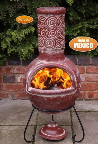 Espiral Rustic Red Clay Chiminea  by Gardeco™