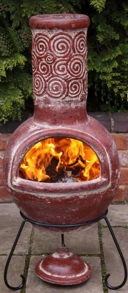 Espiral Rustic Red Clay Chiminea By Gardeco - H125cm x D50cm