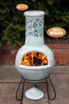 Flores Sage Green Clay Chimenea By Gardeco - H125cm x D50cm