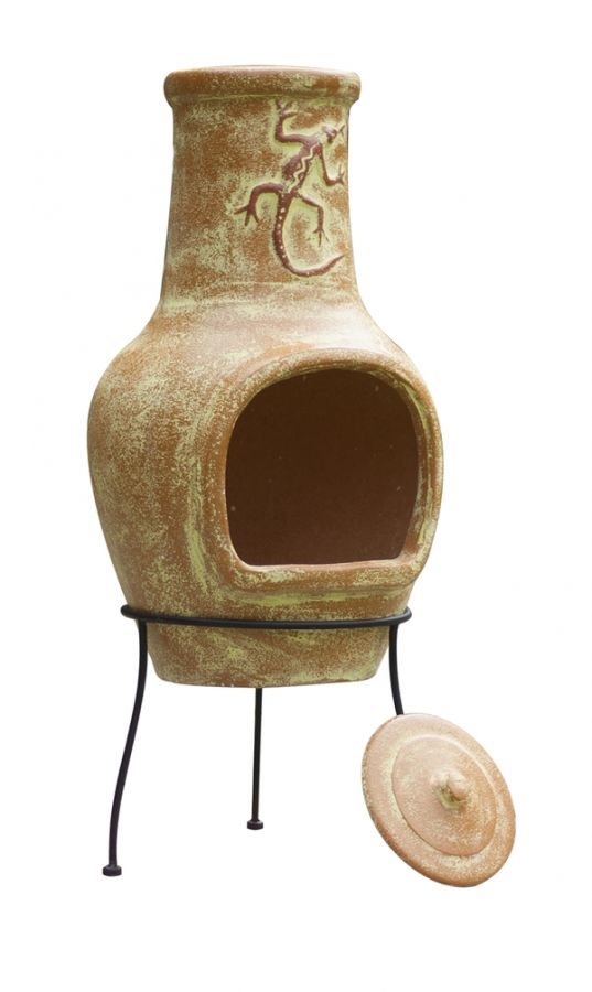 La Hacienda Orange Lizard Clay Chimenea - Large - H95cm x D40cm