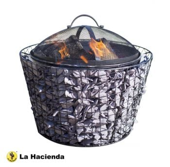 La Hacienda Cone Pebble Steel Mesh Black Fire Pit with Grill - Dia 45cm