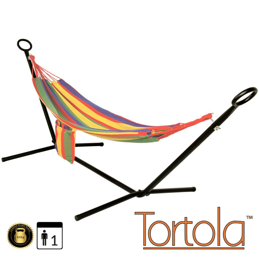 Rainbow Outdoor Garden Hammock With Hammock Stand and Carry Bag - by Tortola®