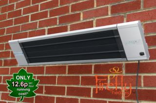 1.8kW IP55 Electric Patio Heater 'Black Heat' with Remote Control 2 Heat Settings by Firefly™