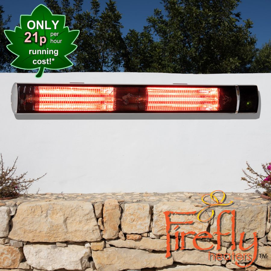 3kW IP44 Wall Mounted Electric Patio Heater Remote Control Black by Firefly™