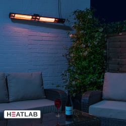 3kW IP44 Wall Mounted Electric Patio Heater Remote Control Black by Heatlab®