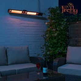 Dual 3kW IP44 Black Electric Infrared Halogen Bulb Patio Heater with Weatherproof IP44 and Remote Control Firefly™