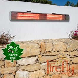 3kW IP44 Wall Mounted Electric Patio Heater Remote Control in Silver by Heatlab®
