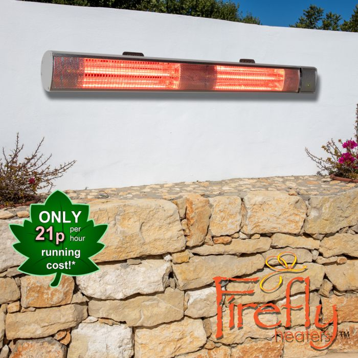 3kW IP44 Wall Mounted Electric Patio Heater Remote Control in Silver by Firefly™