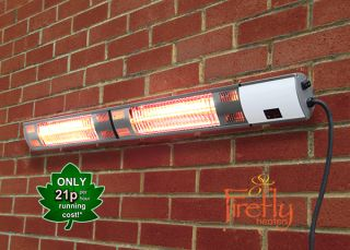 Dual 3kW IP44 Electric Infrared Halogen Bulb Patio Heater with Weatherproof IP44 and Remote Control Firefly™