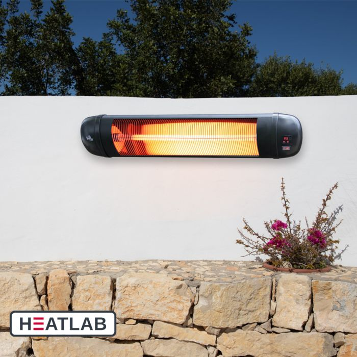 2kW IPX4 Wall Mounted Adjustable Quartz Bulb Electric Infrared Heater with Remote Control by Heatlab®