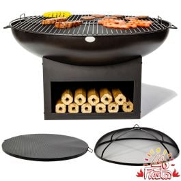 75cm Fire Bowl BBQ Complete Kit with Wood Store in Black - by La Fiesta